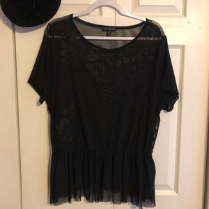 Lane Bryant Black sheer embellished peplum top